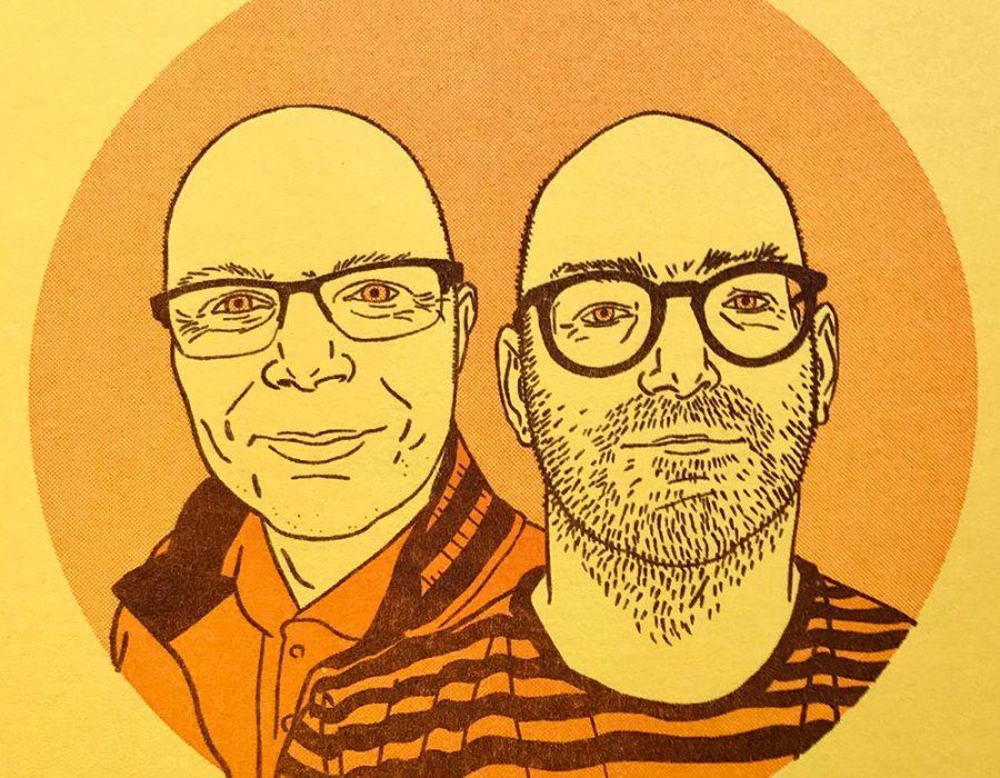 cartoon drawing of two bald men wearing glasses