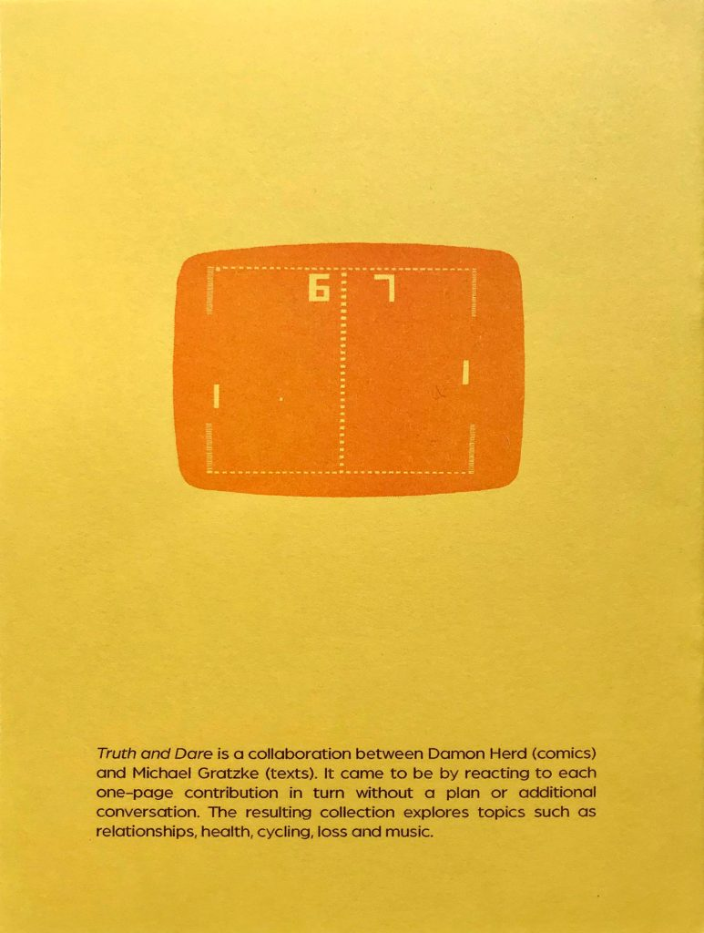 back cover of Truth and Dare zine with drawing computer game 'Pong'